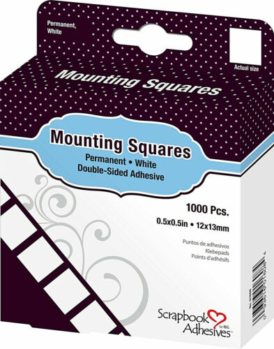"""Scrapbook Adhesives by 3L Mounting Squares Permanent White 1/2"""" 1000/box New!"""