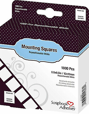 Scrapbook Adhesives by 3L MOUNTING SQUARES Initially Repositionable 1000ct. NEW