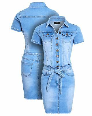 Womens Denim Dress Ladies Stretch Blue Casual Dresses Size 16 10 12 14 8 New