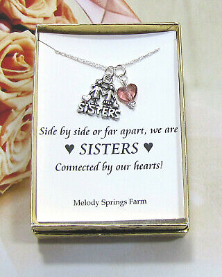 """Sister Love Charm Necklace ~ Pink Crystal Heart ~ Pewter ~ Sterling Silver ~ 18"""" Love Pewter Charm"""