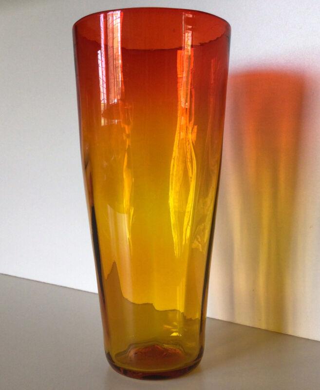 """BLENKO~Wayne Husted Design ~ Vintage 10 /2"""" Amberina Vase ~Bottom  Marked BLENKO"""