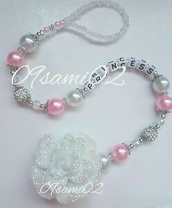 ❤ Bling Personalised Girls Dummy Clip Shamballa&Crystal Glitter Flower Roamay!❤