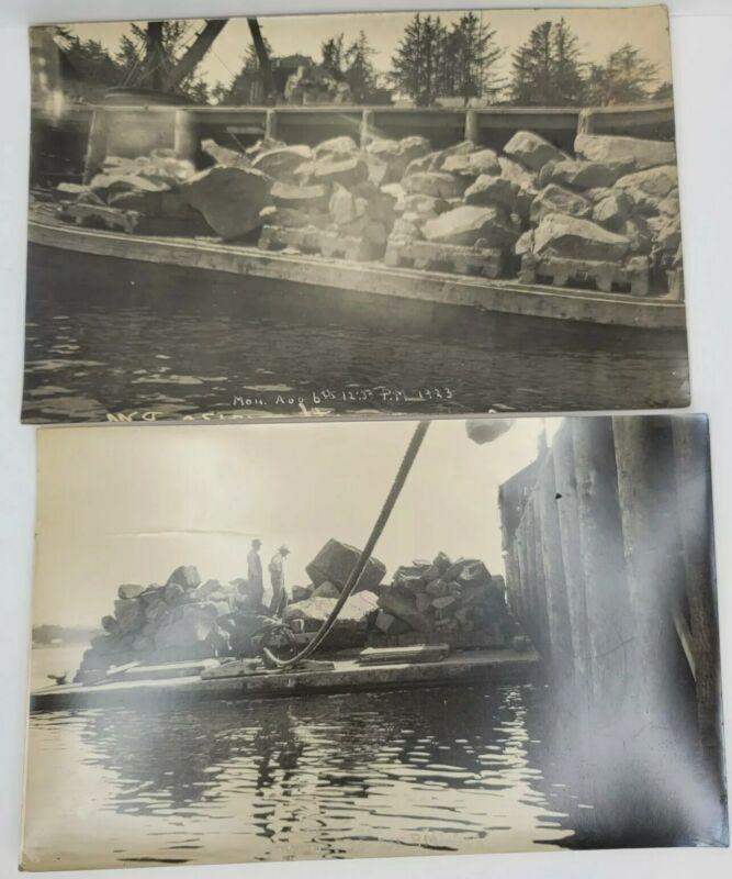 Vintage 1923 Original Photographs Of Barge Loaded w Rip Rap Crane in Back Rare