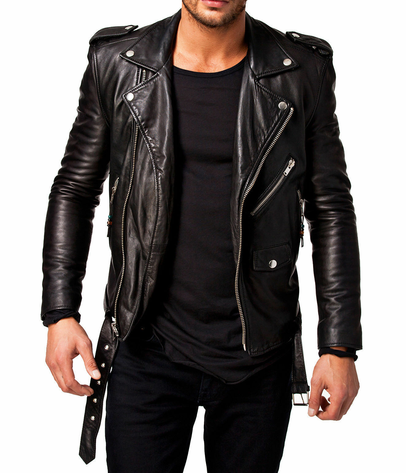 Men Leather Jacket Motorcycle Black Slim fit Biker Genuine l