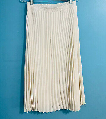 A New Day Women's A-Line Midi Ivory Cream Pleated Skirt Size Small