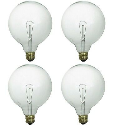Pack of 4 GE 100G40/CL 39851 100W G40 Incandescent (E26) Base Clear Globe (100w G40 Incandescent Bulb)