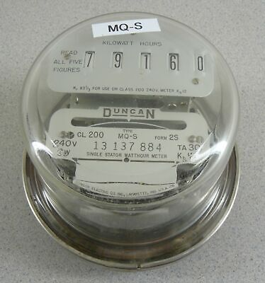 Duncan Electric Watthour Meter Kwh Mq-s Form 2s 200a 240v Cl200 4 Lug Glass Dome
