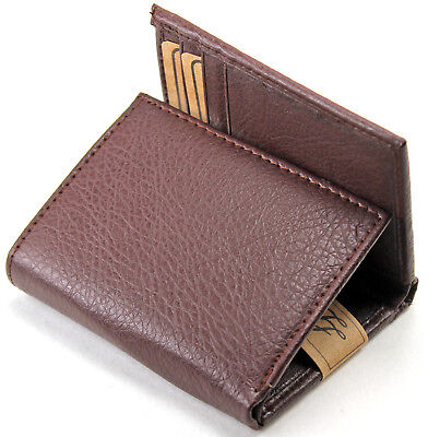 New Mens Leather Trifold Brown Wallet Credit Card Window ID Holder Billfold - Trifold Wallets