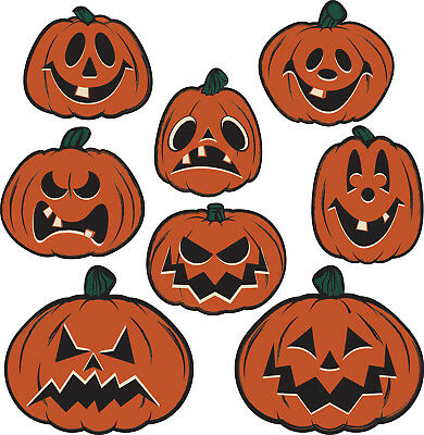 Halloween Cutouts Pumpkin (8 Halloween Hanging Vintage Style Pumpkin Cutouts haunted house)