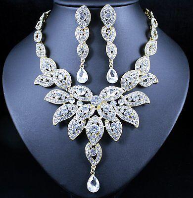 Large Floral Austrian Rhinestone Crystal Bib Necklace Choker Earrings Set N1581G