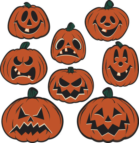 8 pc Vintage Beistle Repro HALLOWEEN Die Cut PUMPKIN CUTOUTS Party Decoration