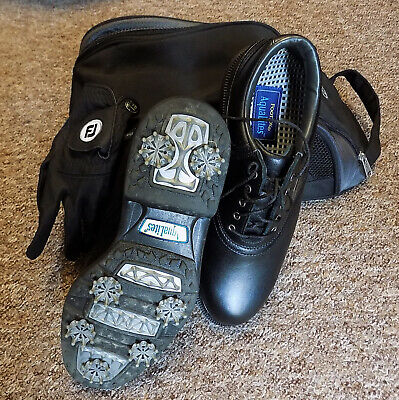 Footjoy Aqualites Black Golf Shoes With Leather Club Glove In Nike Bag SIZE 6.5