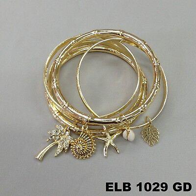 (Unique Sea Life Shell Dangle Charms Bangle Set Gold Finish Wrist Hand Bracelets)