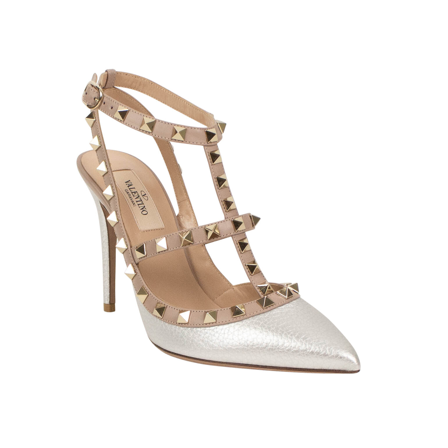 NIB VALENTINO Silver Metallic Rockstud Caged Pumps Heels Shoes 1040 1045