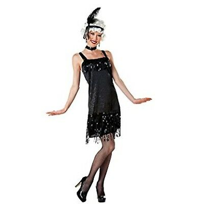 NWT TOTALLY GHOUL ROARING 20'S SEXY BLACK FRINGE FLAPPER WOMEN'S COSTUME OUTFIT