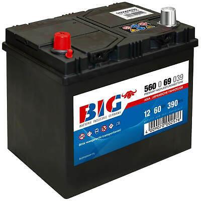 BIG ASIA Autobatterie 12V 60Ah Starterbatterie 56069 Japan Pluspol links