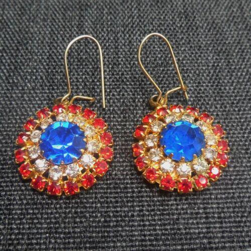 Rhinestone Earrings Vintage Patriotic USA Red White Blue Gold-Tone Circle