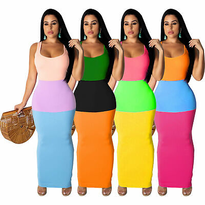 Summer Women sleeveless colors patchwork casual club party bodycon midi (Patchwork Sleeveless Dress)
