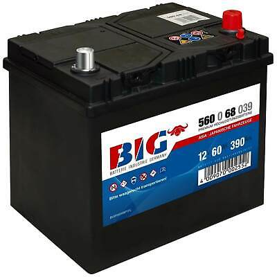 BIG ASIA Autobatterie 12V 60Ah Starterbatterie 56068 Japan Pluspol rechts