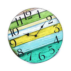 14 Inch Silent Non Ticking Wall Clock Wooden Decorative Battery Operated Vintage