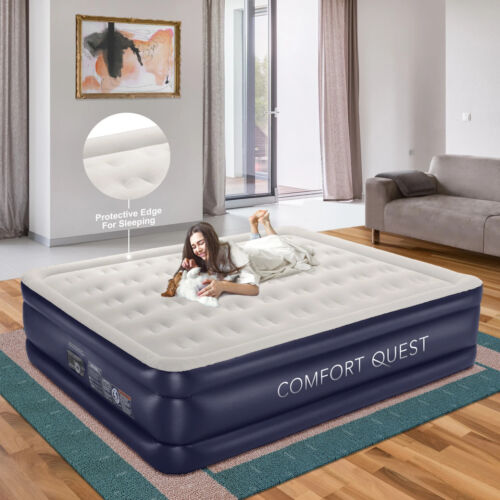 Comfort Quest (King) Air Mattress With Built-In Pump, Inflatable Blow Up Air Bed