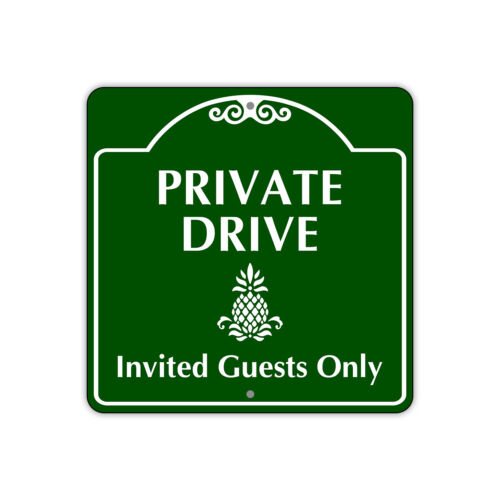 """Private Drive Invited Guests Only Unique Novelty Aluminum Metal Sign 12""""x12"""""""