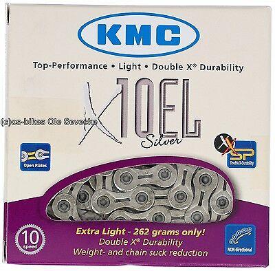 KMC X-10EL 10-fach Kette für MTB und Race, extrem leicht und stabil,silberfarben