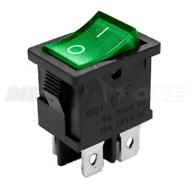 Dpst Kcd1 Mini Rocker Switch On-off Wgreen Lamp 6a250vac T85 - Usa Seller
