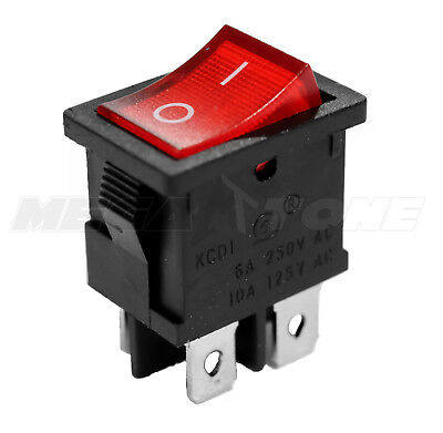 Dpst Kcd1 Mini Rocker Switch On-off Wred Lamp 6a250vac T85 - Usa Seller