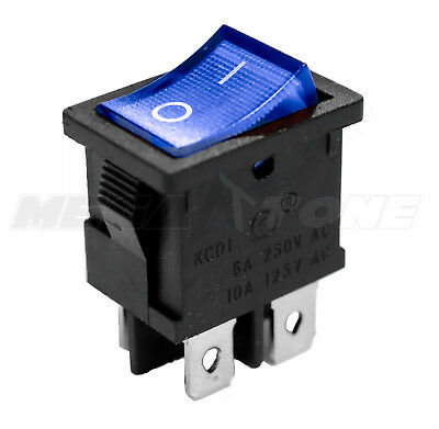Dpst Kcd1 Mini Rocker Switch On-off Wblue Lamp 6a250vac T85 - Usa Seller