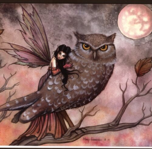 FRIENDSHIP FAIRY HUGS OWL,FULL MOON,HALLOWEEN COLLECTIBLE,MODERN GREETING CARD