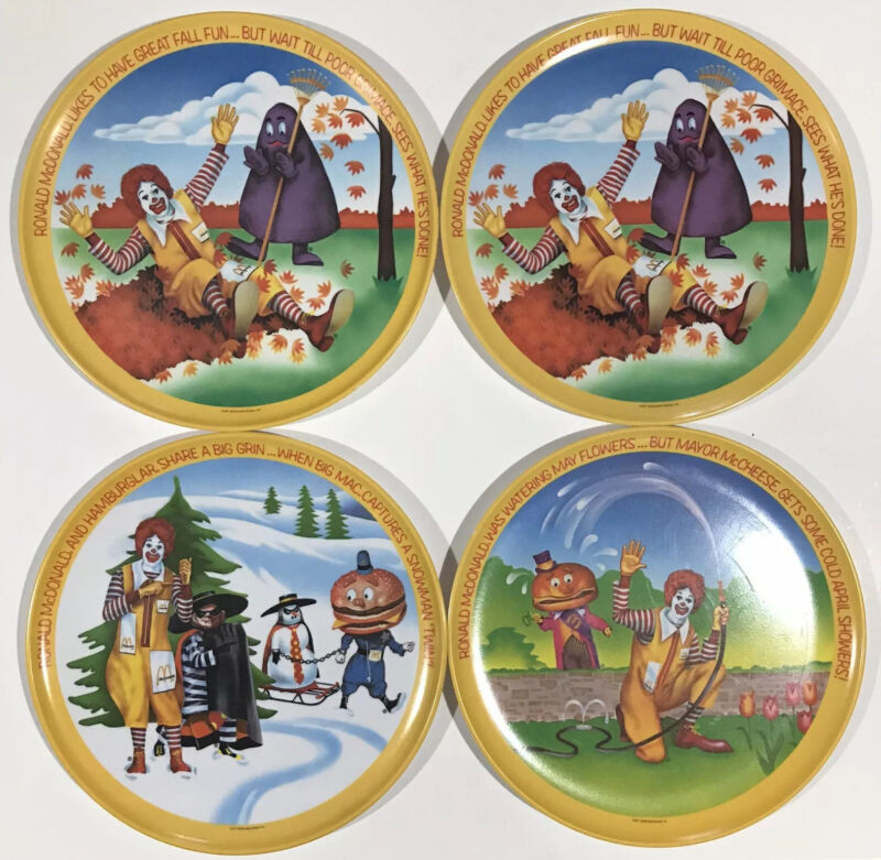 "Vintage 1977 McDonalds Lexington 10"" Plates Used Spring Fall Winter - LOT OF 4"
