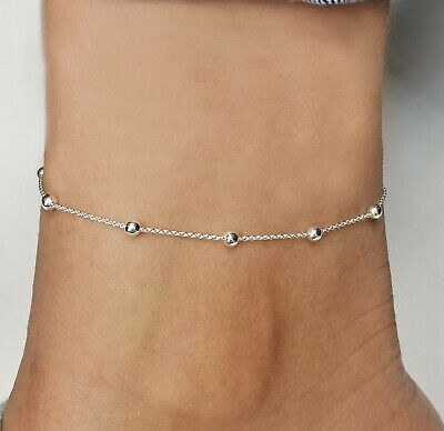 Sterling Silver 925 Anklet or Necklace Rolo Bead Adjustable with Extn Italy .925