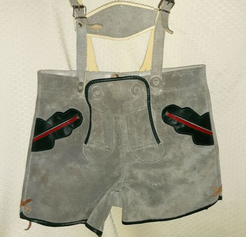 TRACHTEN OKTOBERFEST Boys Lederhosen Shorts 6 ELK EMBOSSED Breast Detail Gray
