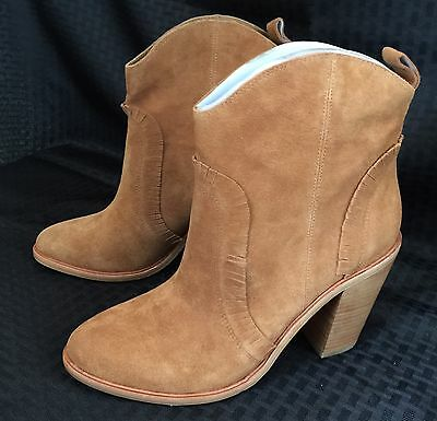 Joie Mathilde Fringe Cowgirl Country Jam Farm Whiskey Brown Boot Bootie Size 9.5