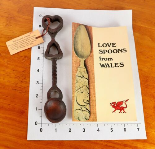 Handmade Welsh Love  Spoon & Vintage Learn Carving Spoons Book From Wales