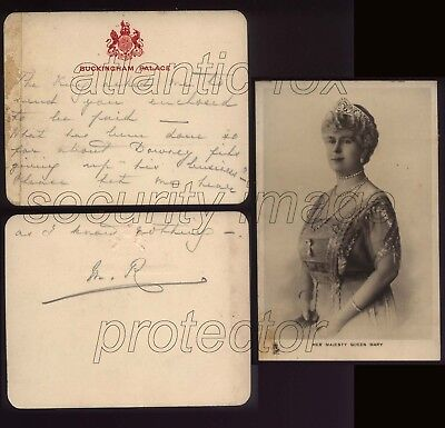 Circa 1920 QUEEN MARY Buckingham Palace Card to FRITZ, re DOWNEY photographers