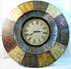 Large Metal Enamel Painted Wall Clock Art Sculpture 30 Hanging Decor