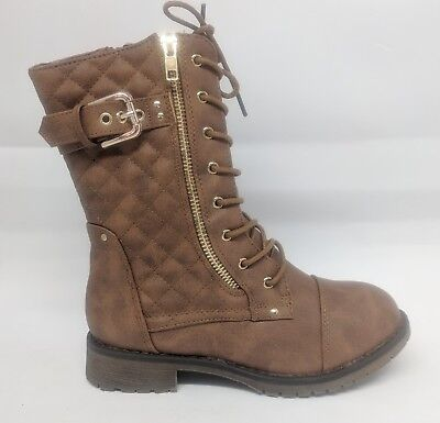 Girls Youth Kids Tan Quilted Lace Up Combat Military Boot - Kids Combat Boot
