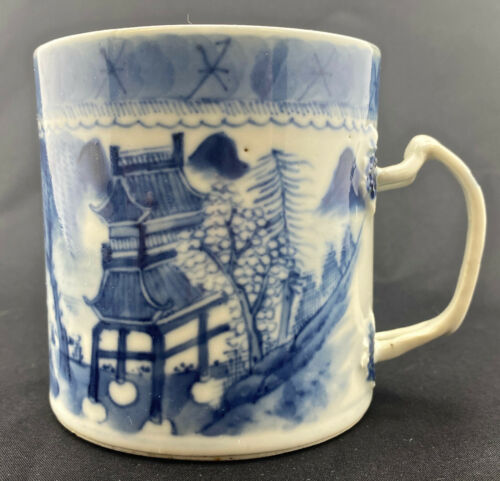 Chinese Export Porcelain Blue & White Nanking Fitzhugh Pattern Mug 19th century