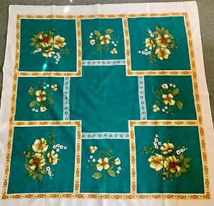 Lovely Vintage Retro tablecloth-60's 126 cm by 120 cm- teal
