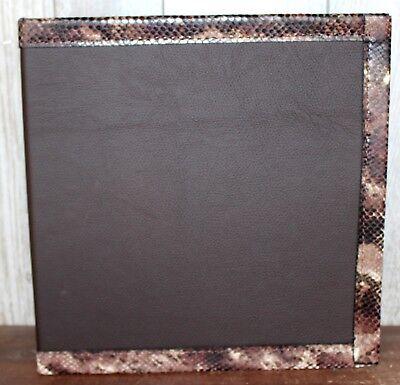 Smooth Dark Chocolate Cowhide Leather W Python Snakeskin Trim 2 3 Ring Binder