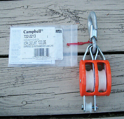 Campbell 7222213 2 Double Sheave Nylon Block 1000lb Wll Usa 3102f Manila Rope