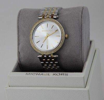 NEW AUTHENTIC MICHAEL KORS DARCI SILVER GOLD CRYSTALS WOMEN'S MK3215 WATCH