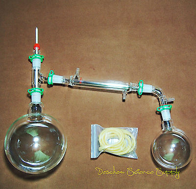 2000ml2440glass Distillation Apparatusnew Lab Vacuum Distill Glassware Kit
