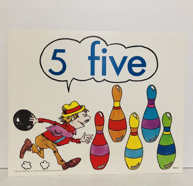Vintage Number 5 Five Poster Card Electric Company 1985 Educational Bowling