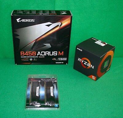 AMD Ryzen 5 2600X & Gigabyte B450 Aorus M mATX Motherboard & 16GB RAM BILD COMBO
