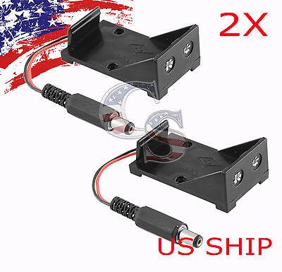 2x 9v Battery Holder Box Case Plug 5.5x2.1mm For Arduino Breadboard Power Supply