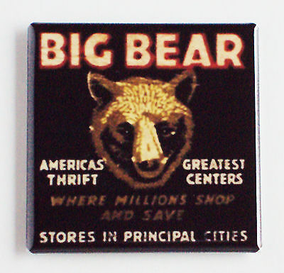 Big Brown Bear Fridge Magnet  2 X 2 Inches  Sign Thrift Store California