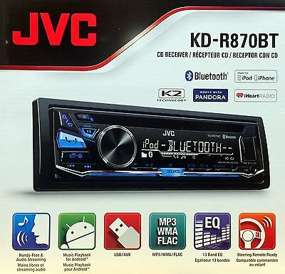 NEW JVC KD-R870BT Single-DIN In-Dash Stereo w/ Bluetooth, Pandora, iHeartRadio